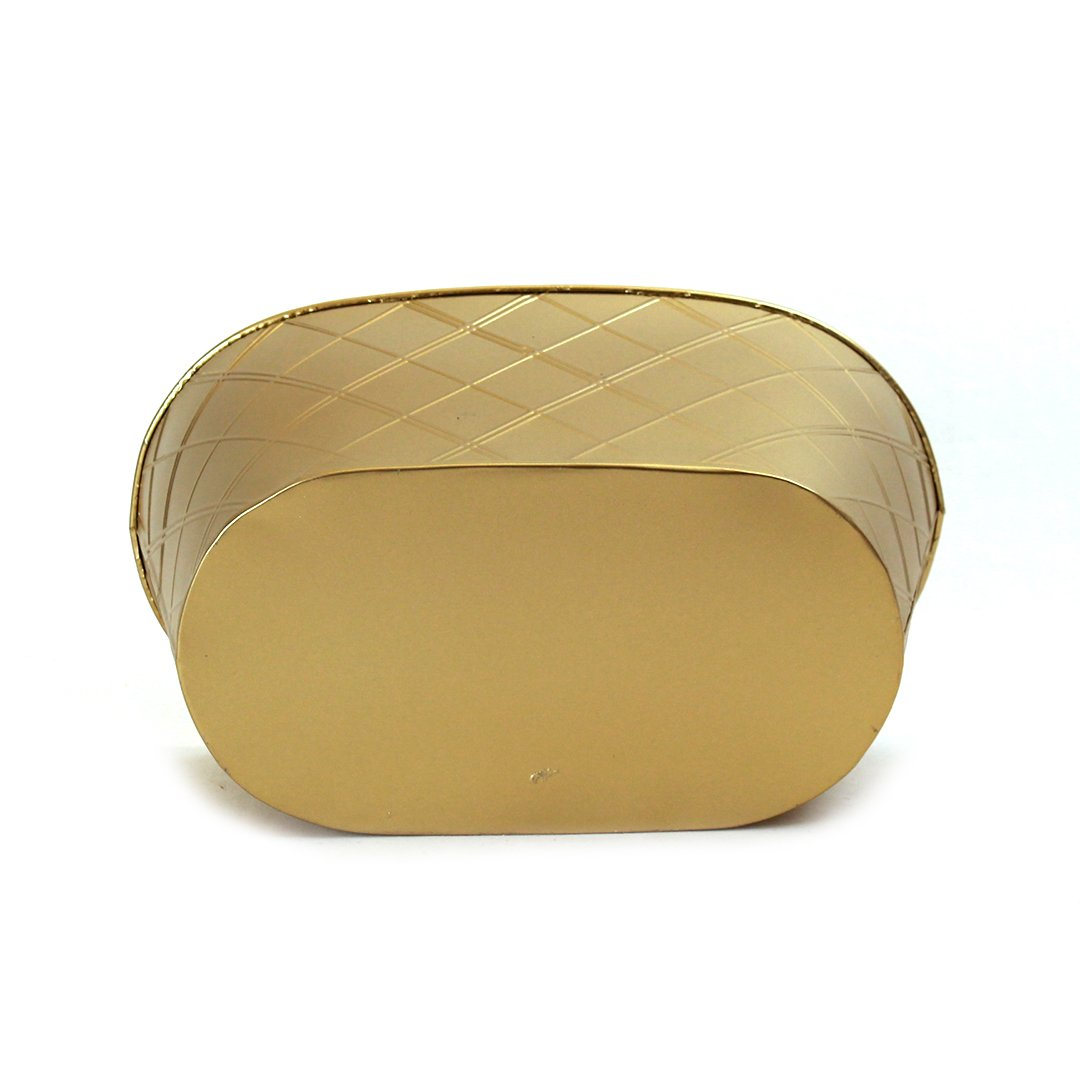 Gold Oval Metal Basket 13'' x 8'' x 6'' - bottom
