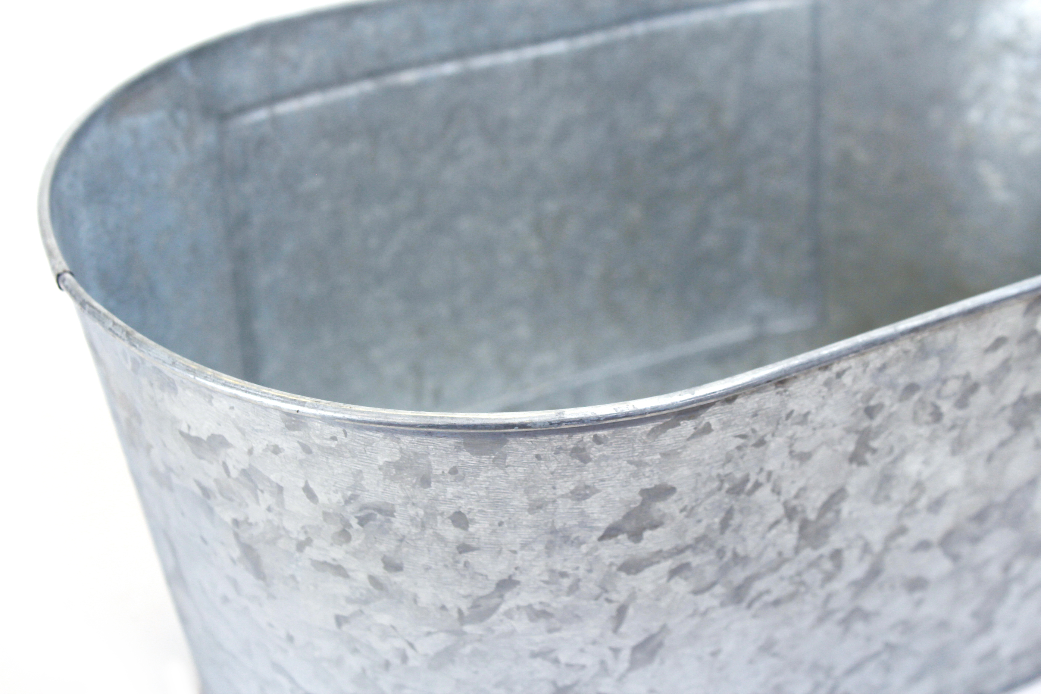 Silver Oval Metal Basket With Chalkboard Panel close