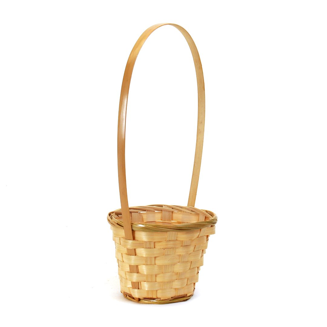 "Round Baskets with Handle 5"" x 5"" x 4"" side"