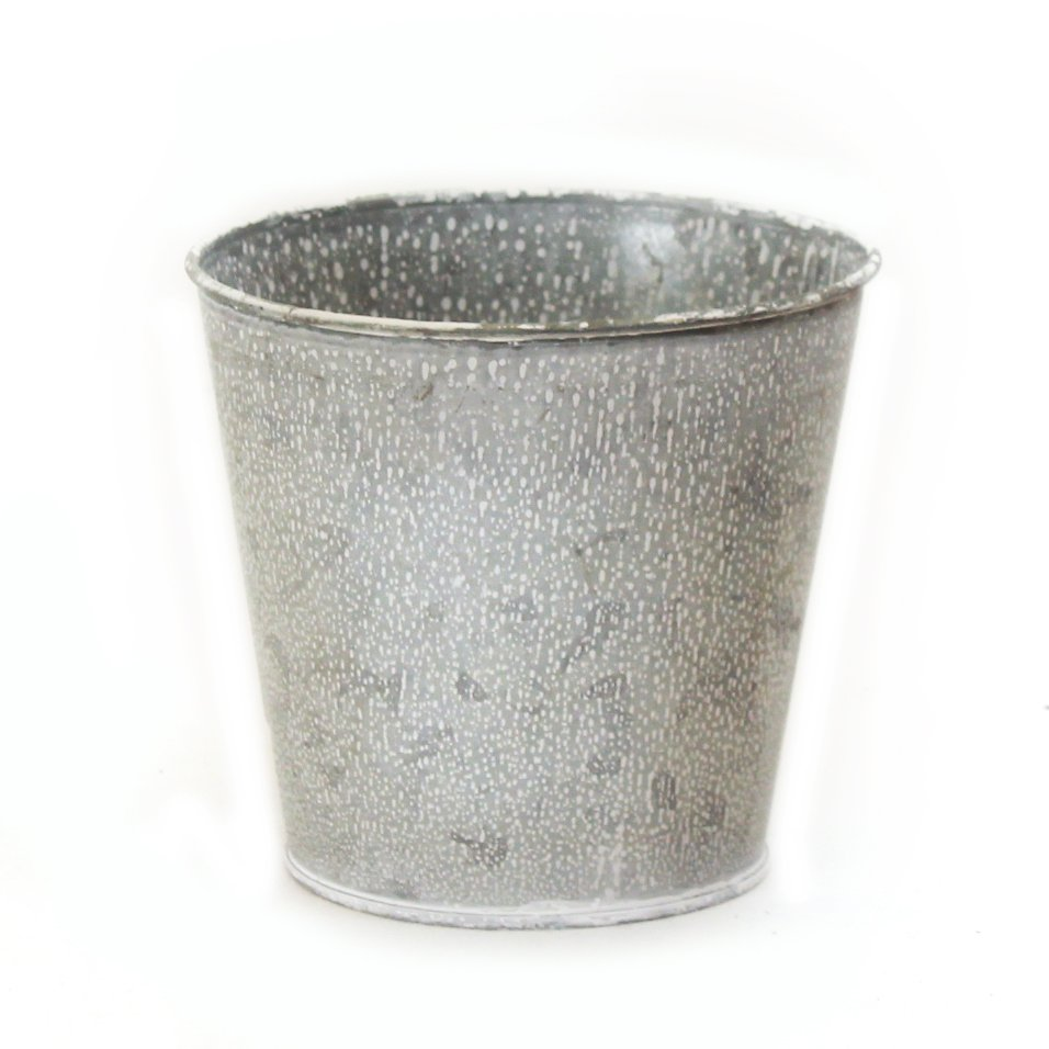 "Round Metal Basket - Silver 5"" x 5"" x 4.75"" back"