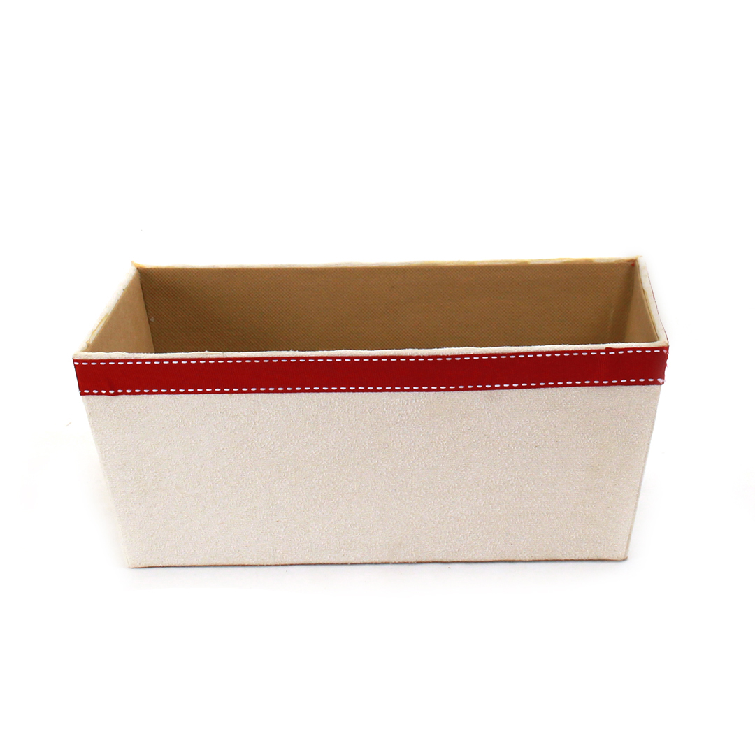 "White Fabric Container 12"" x 9.5"" x 4.75"" front"