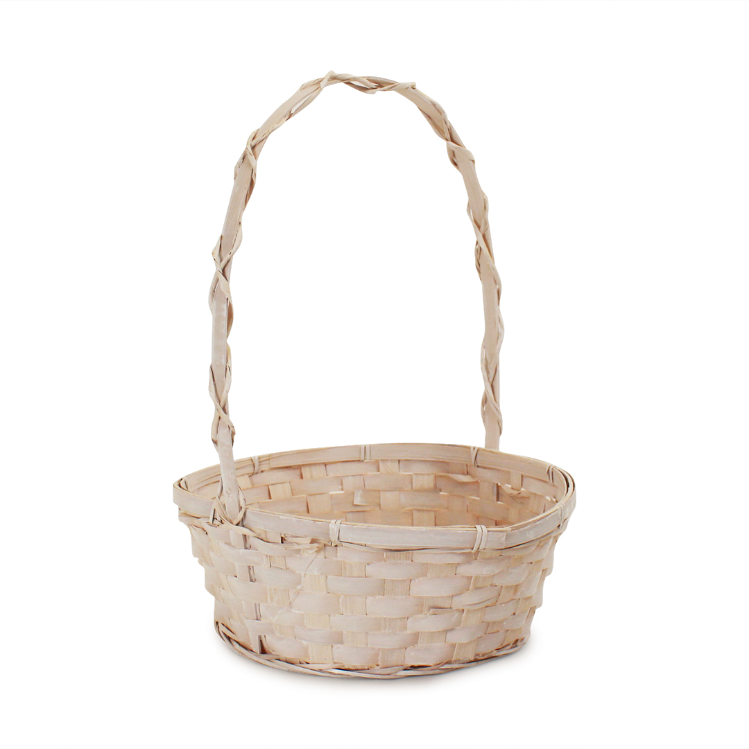 Antique White Round Baskets with Handle