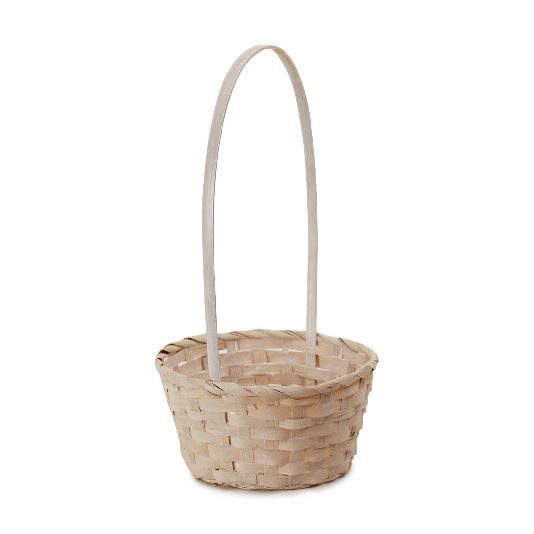 White Round Bamboo Baskets side