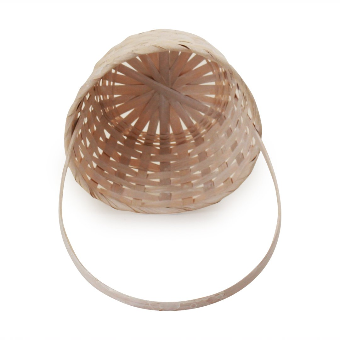 White Round Bamboo Baskets top