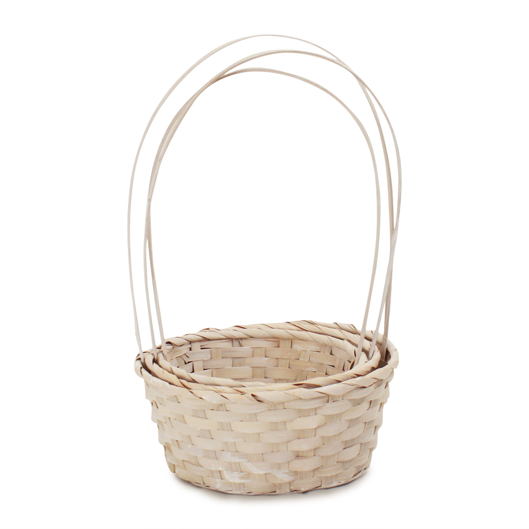 White Round Bamboo Baskets group