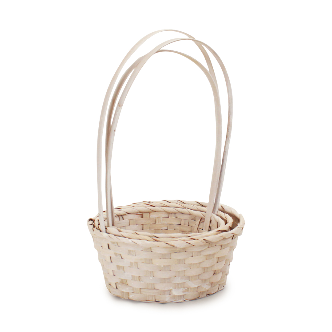 White Round Bamboo Baskets group side