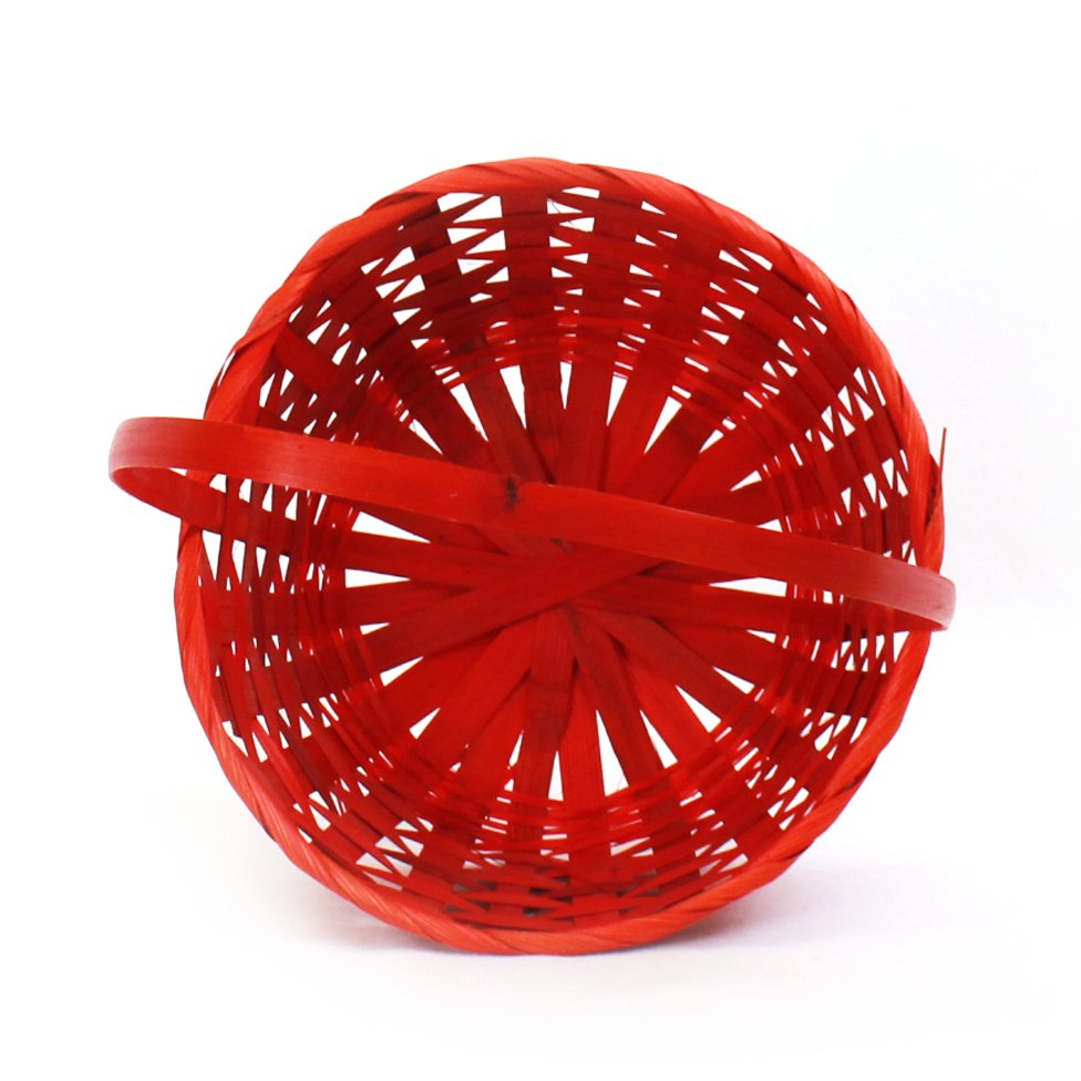 Red Round Bamboo Baskets top
