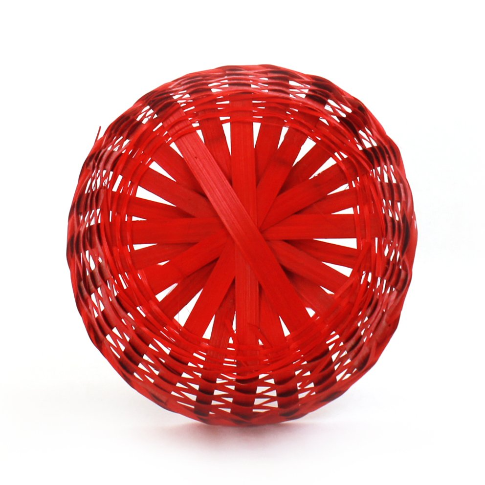Red Round Bamboo Baskets bottom