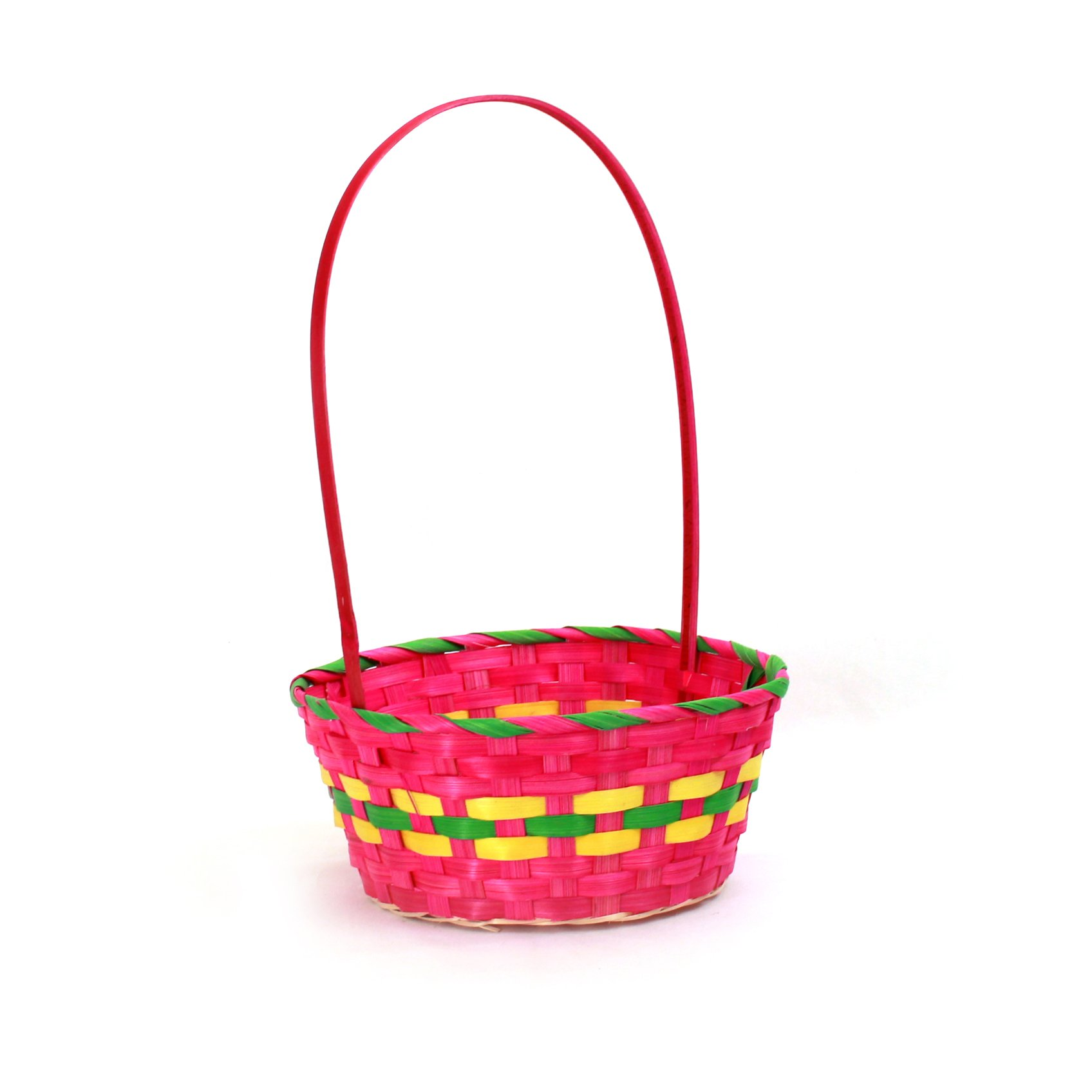 Multi Coloured Round Bamboo Baskets side