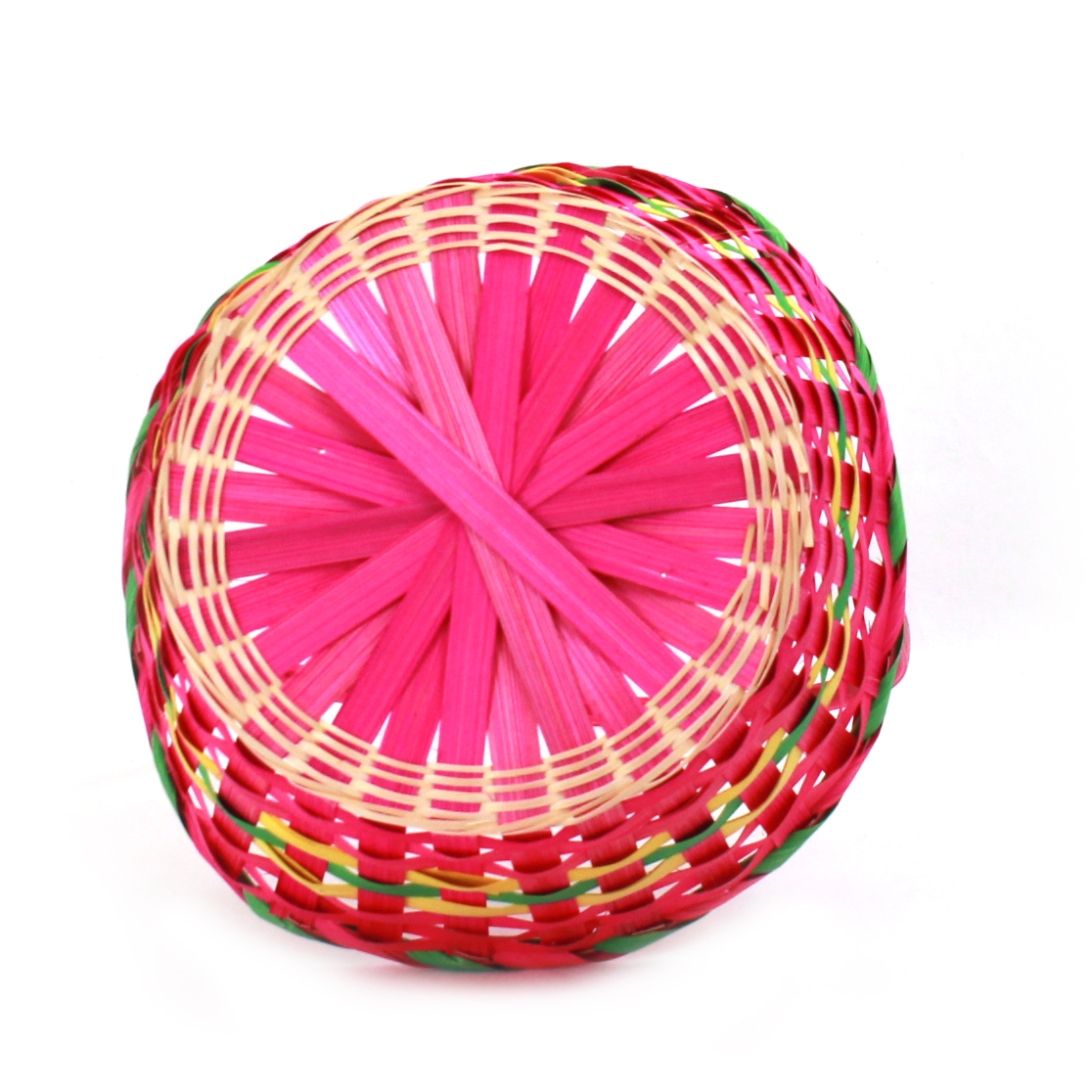 Multi Coloured Round Bamboo Baskets bottom
