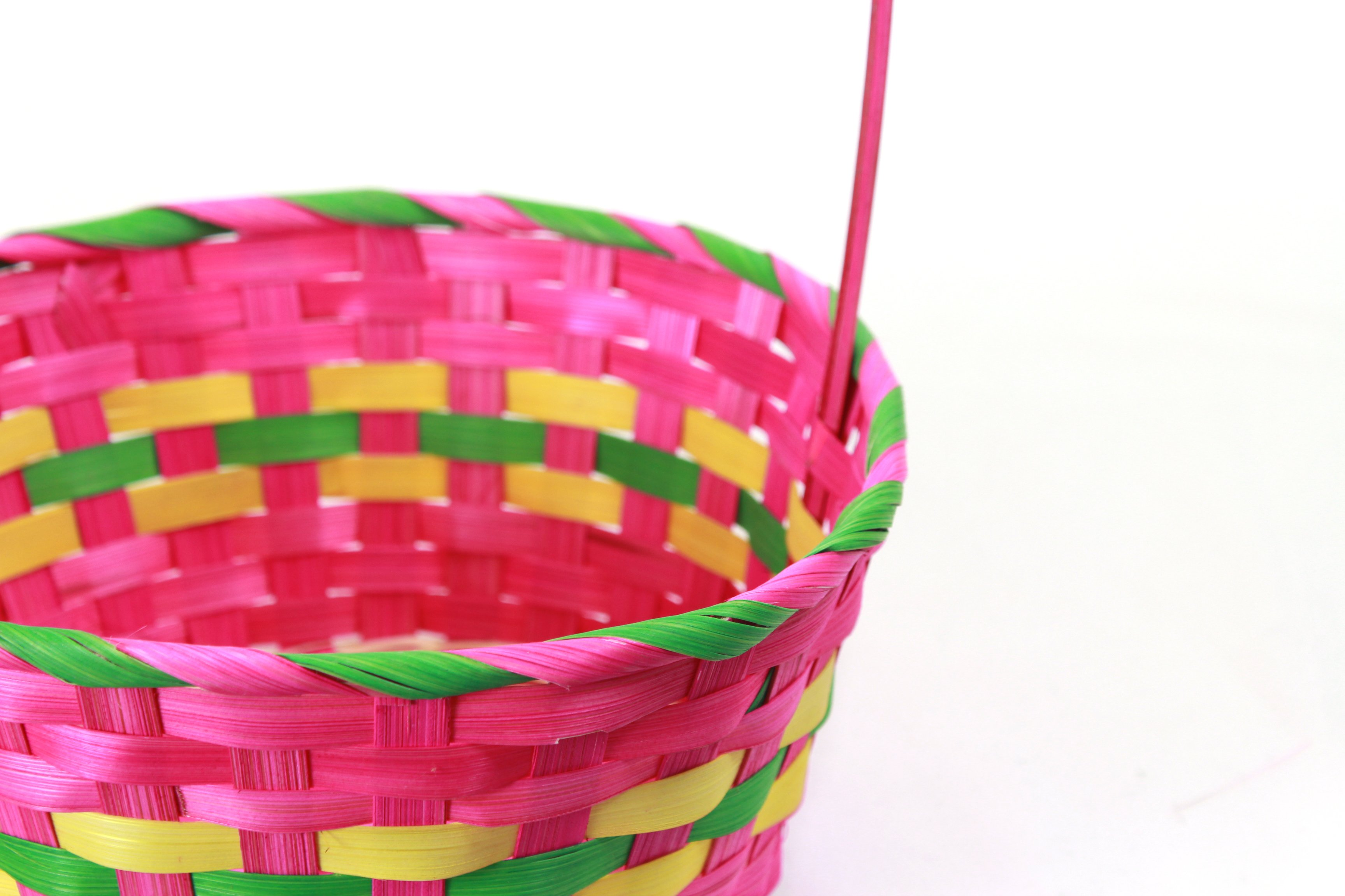 Multi Coloured Round Bamboo Baskets close-up