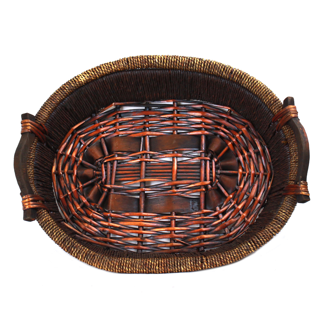 "Oval Basket 2-Tone With Handles 19"" x 15½"" x 3"" top"