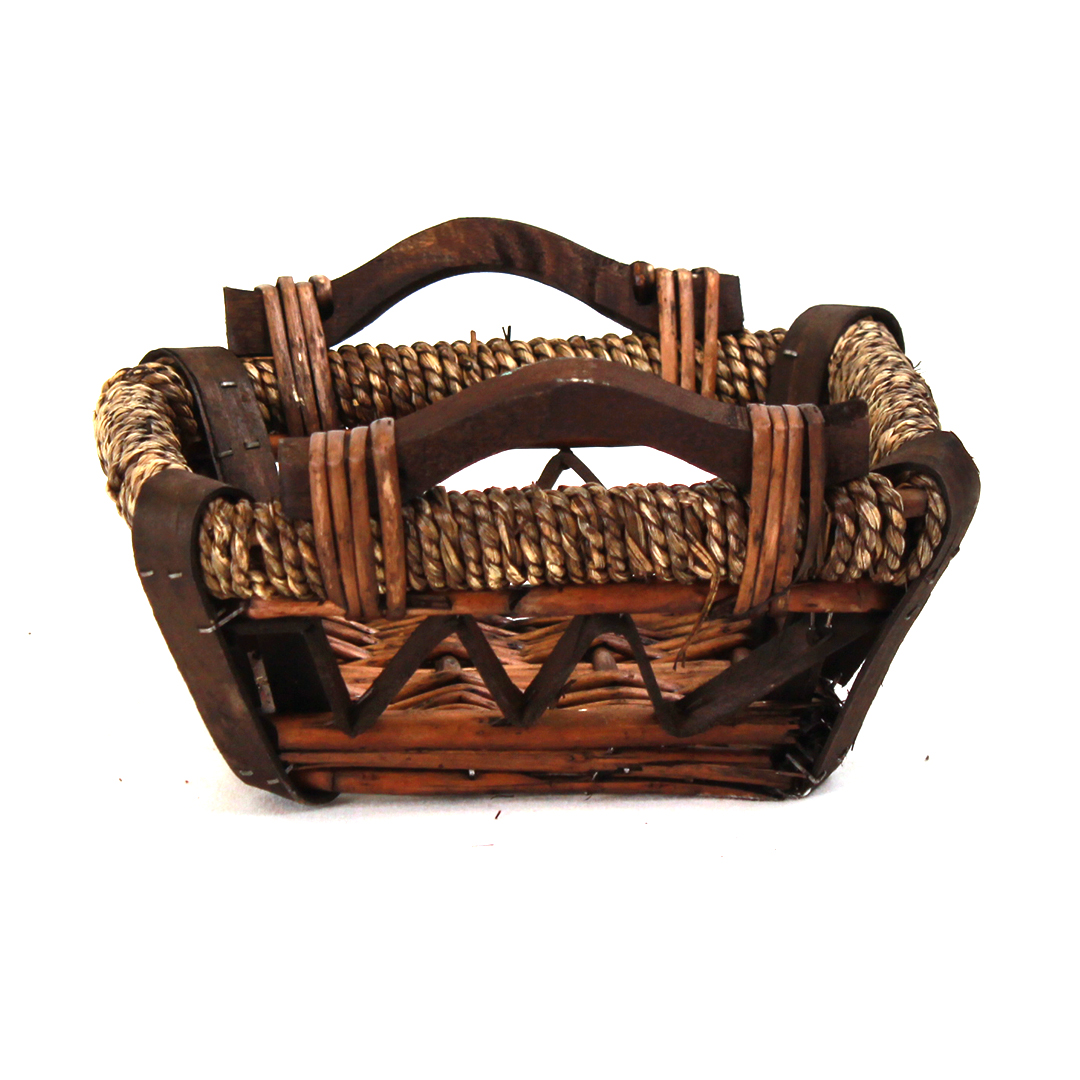 Dark Brown Square Baskets With Handles front