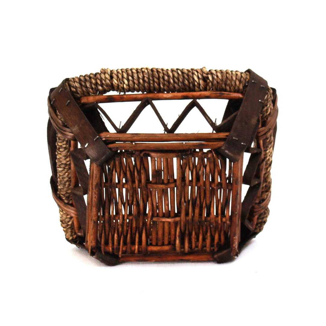 Dark Brown Square Baskets With Handles bottom
