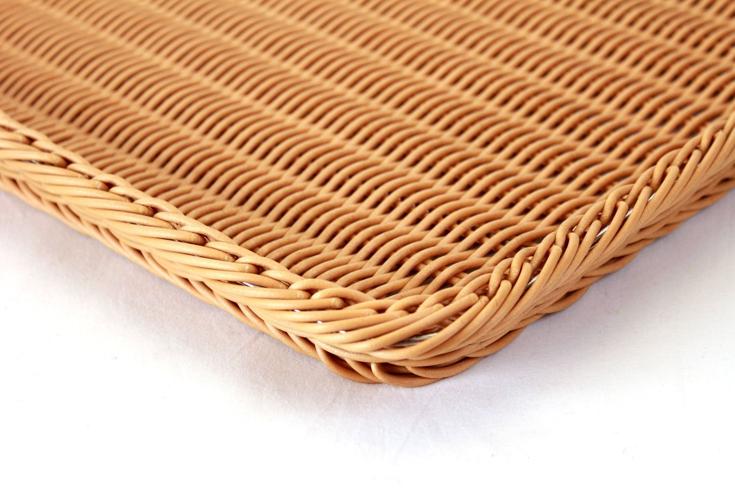 Wicker Basket - Plastic Rectangular- Brown close
