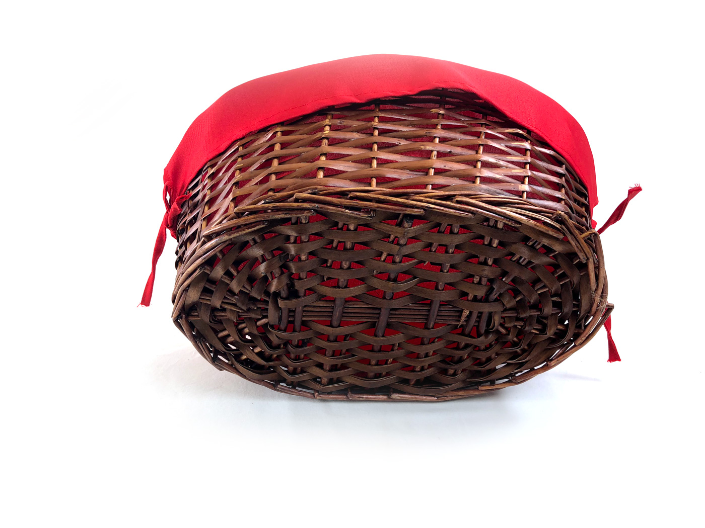 Oval Baskets With Red Liner & Handle Bottom