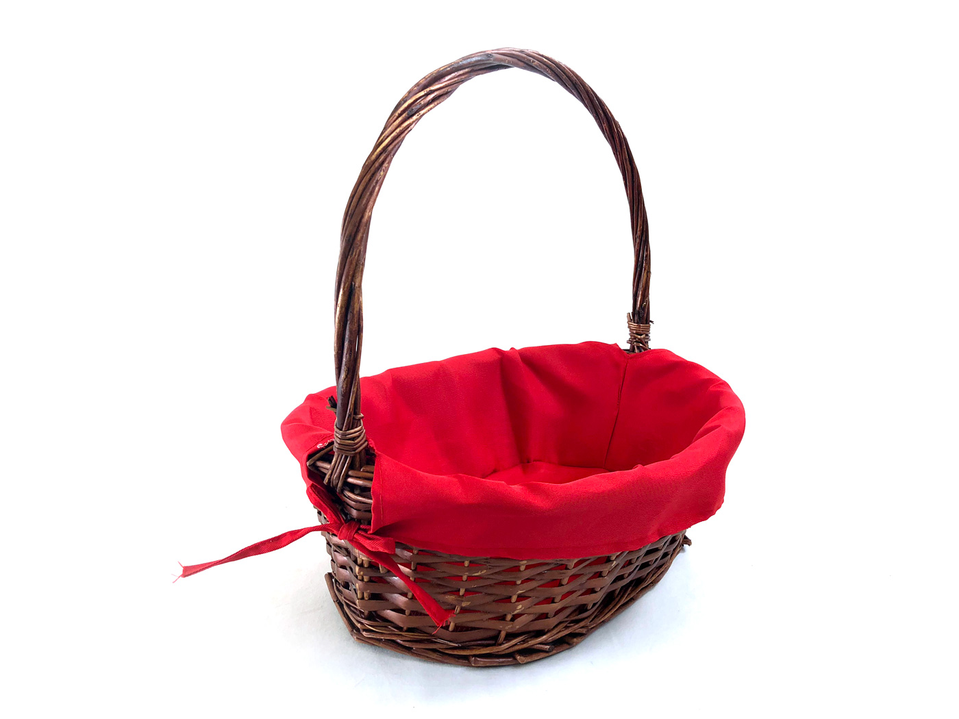 Oval Baskets With Red Liner & Handle side