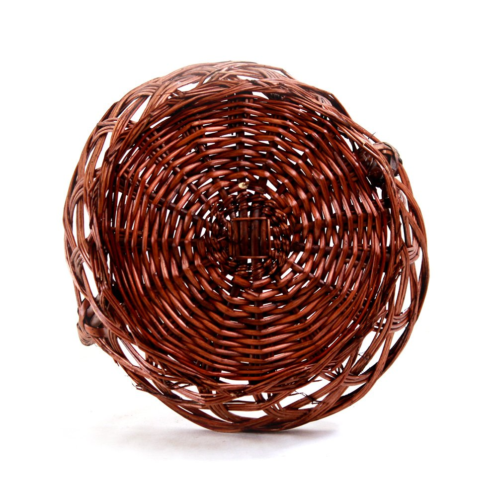 "Round Brown Basket With Handle 10"" x 4"" bottom"