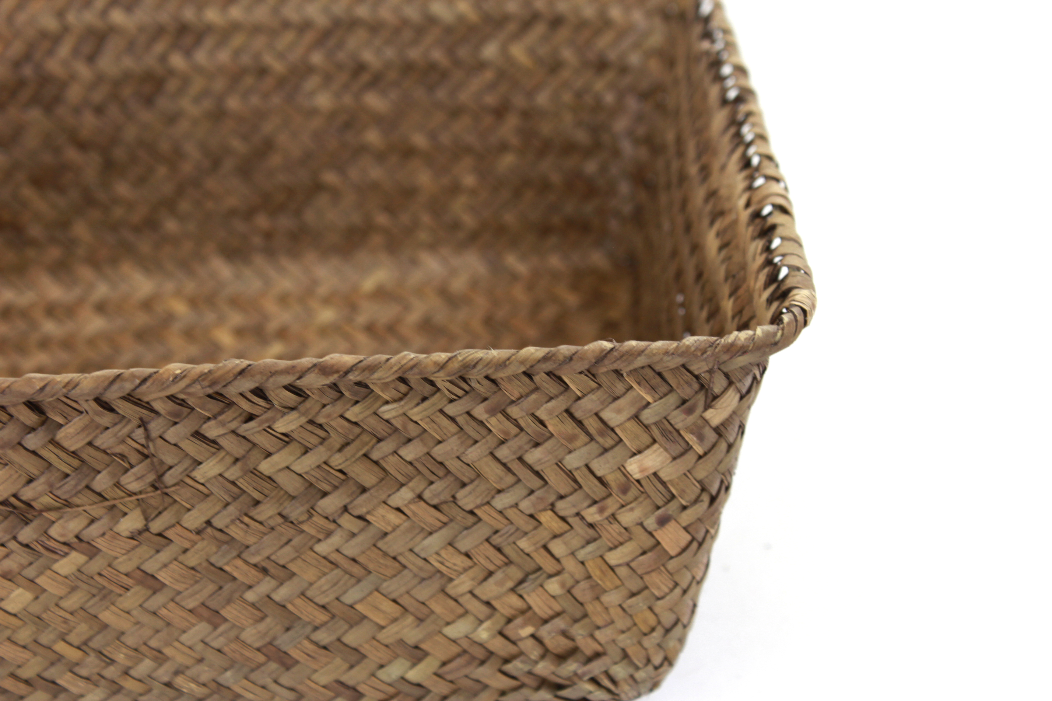 Dark Brown Rectangular Basket 13'' x 9'' x 4'' close