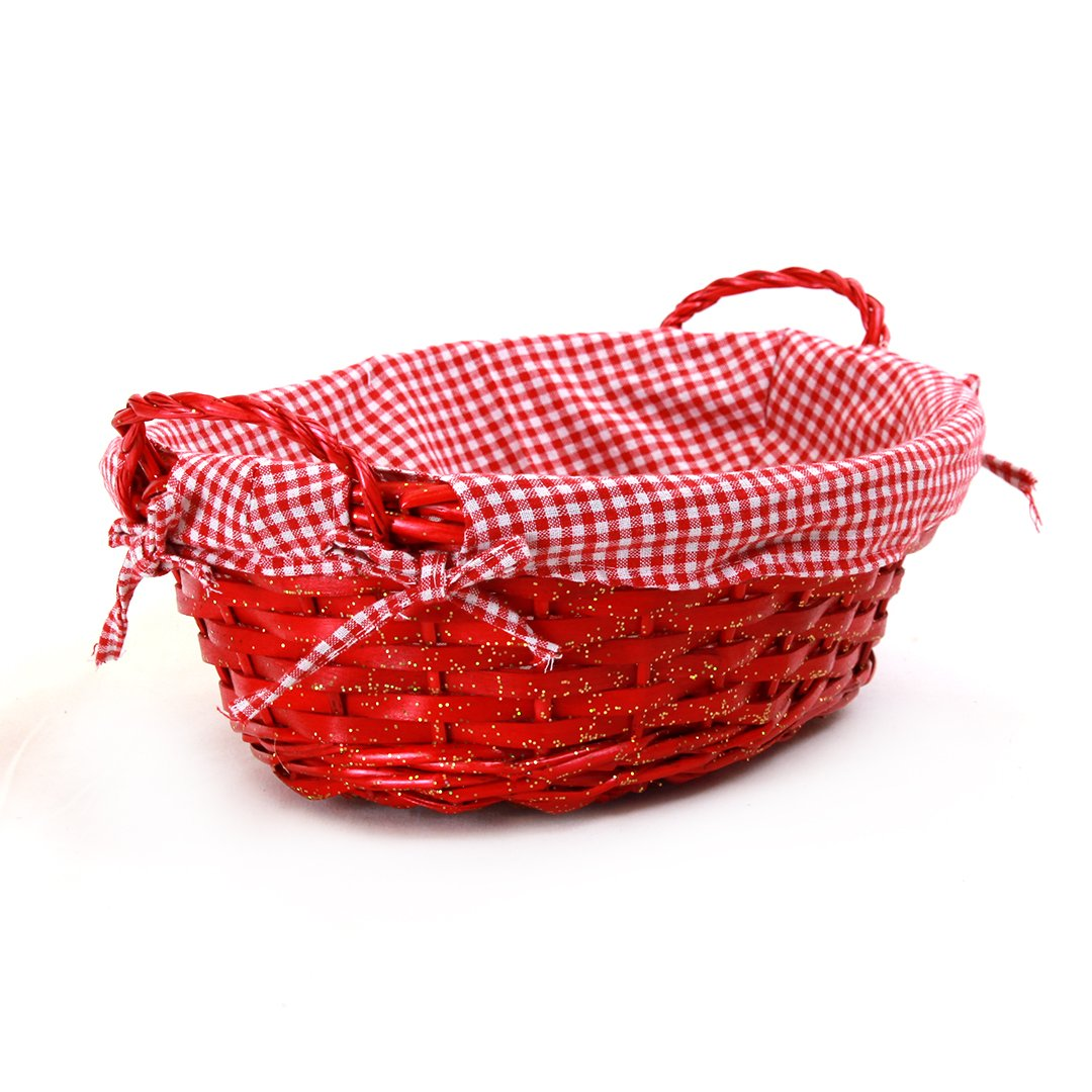 "Oval Red Basket with Liner and Handles 15"" x 12"" x 5"" side"