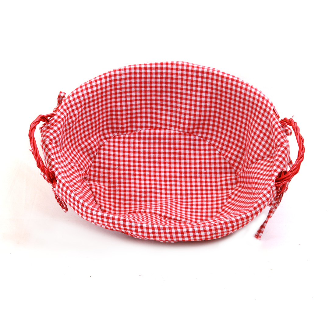 "Oval Red Basket with Liner and Handles 15"" x 12"" x 5"" top"