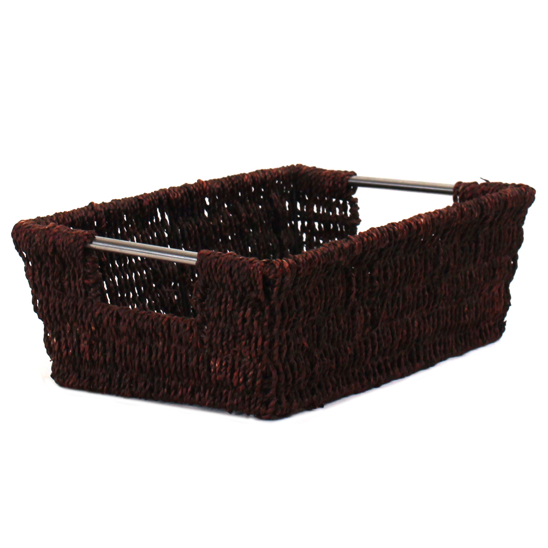 Rectangular Black Baskets With Handles side