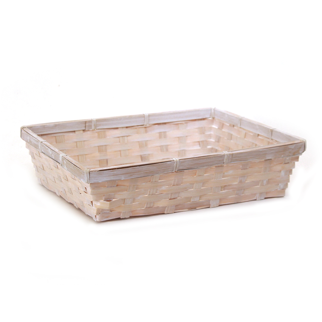 "White Rectangular Basket 12.5"" x 9.5"" x 3"" side"