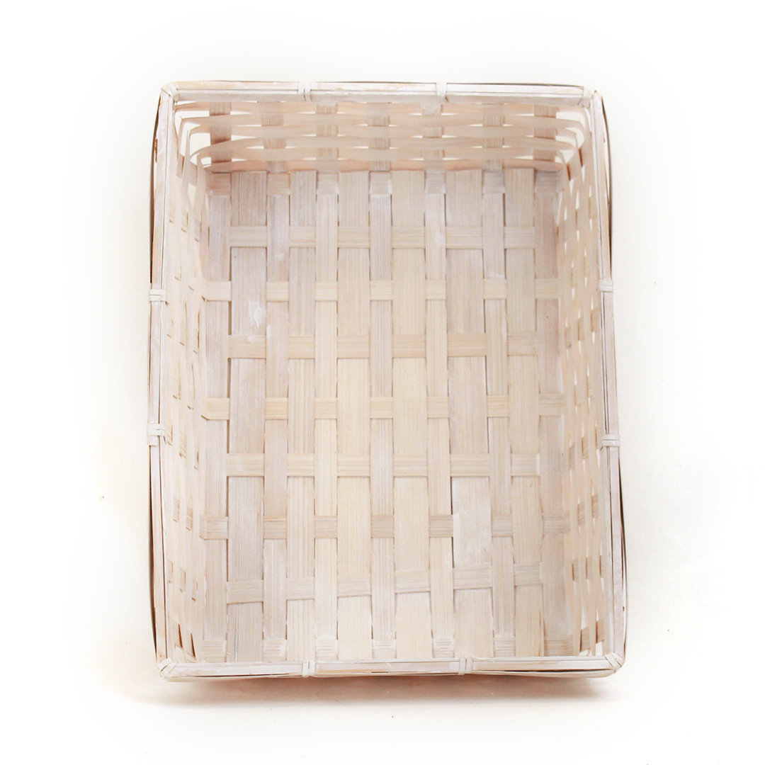 "White Rectangular Basket 12.5"" x 9.5"" x 3"" top"