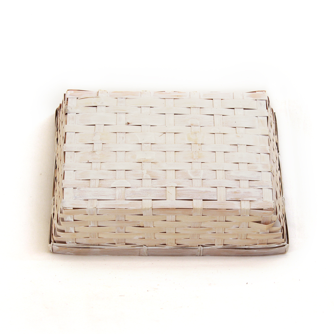 "White Rectangular Basket 12.5"" x 9.5"" x 3"" bottom"