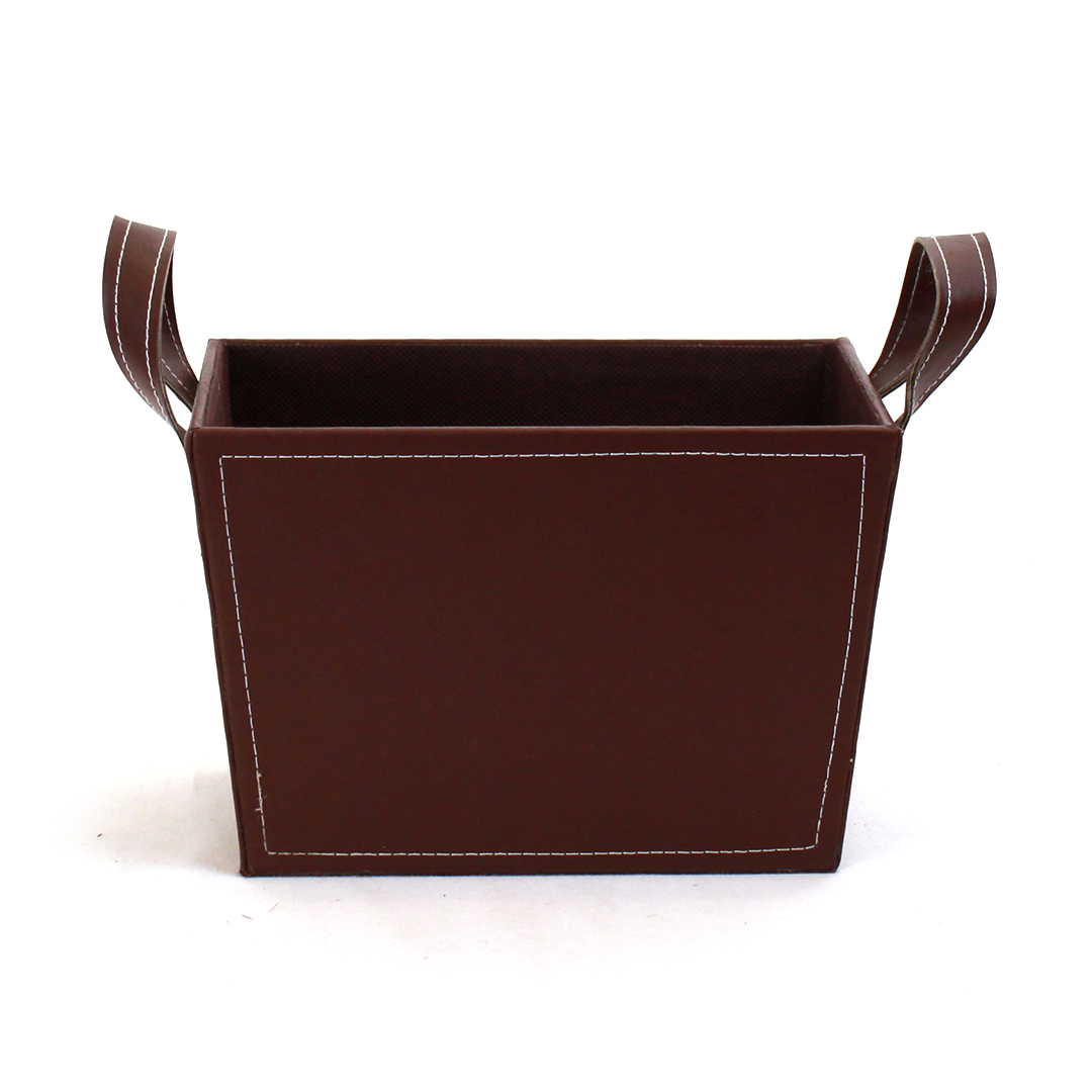 "Brown Faux Leather Container With Handles 8½"" x 6"" x 6"" front"