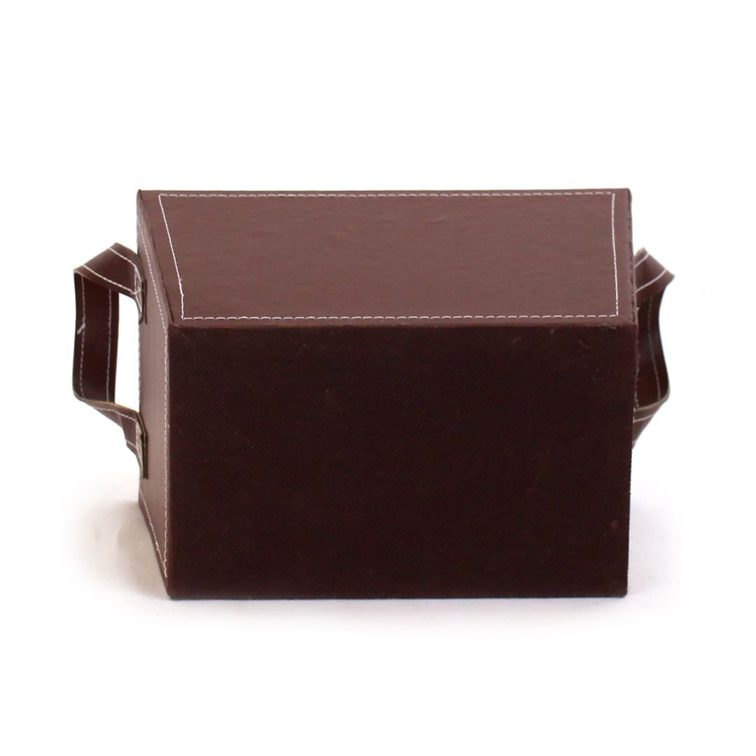 "Brown Faux Leather Container With Handles 8½"" x 6"" x 6"" bottom"