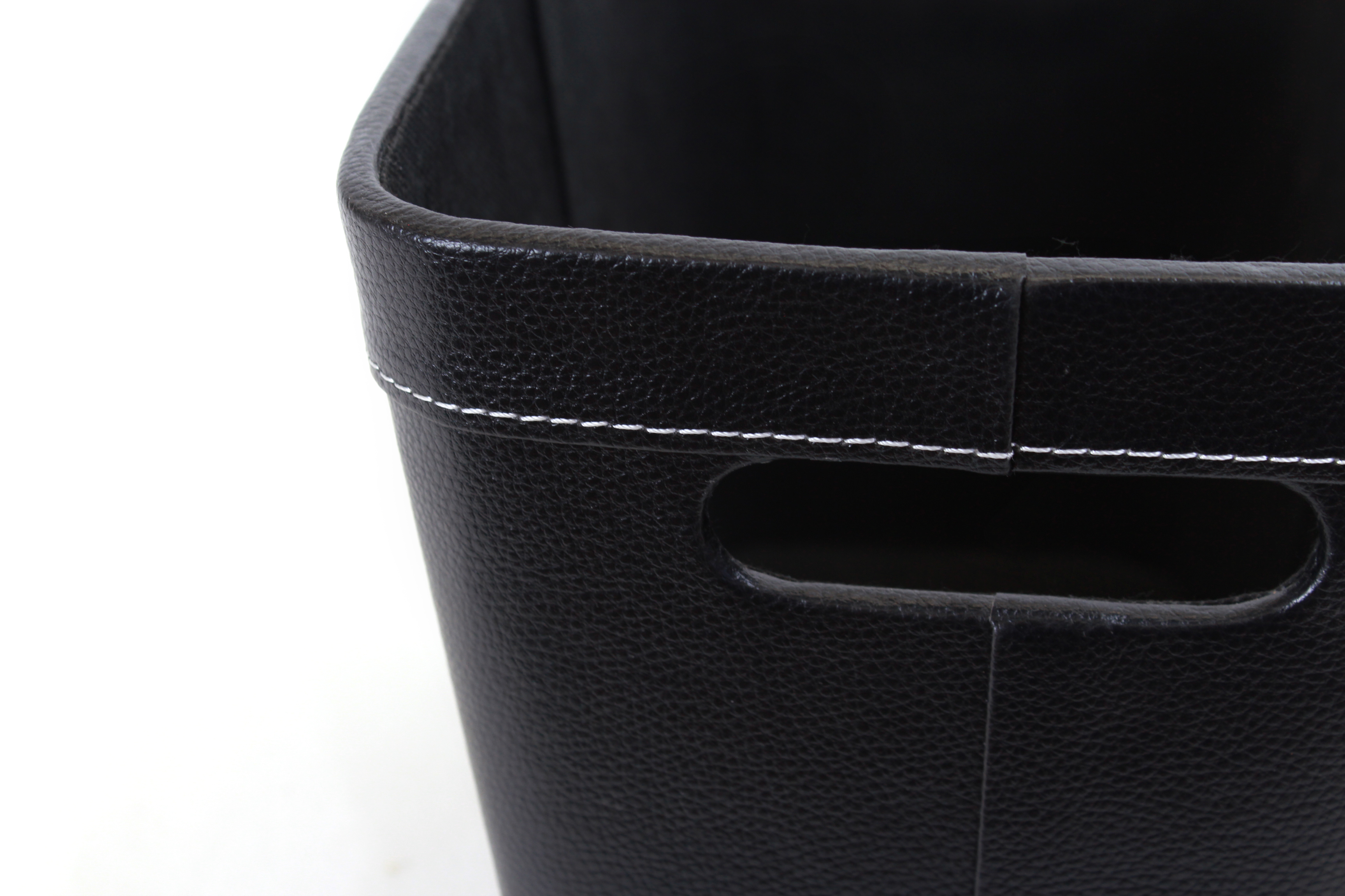 Black Faux Leather Container close