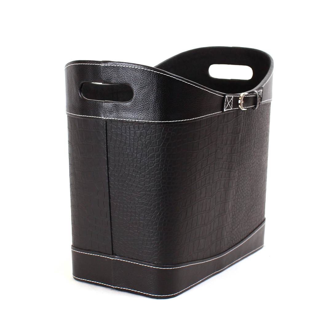 "Black Faux Leather Container 15"" x 9"" x 11"" side"
