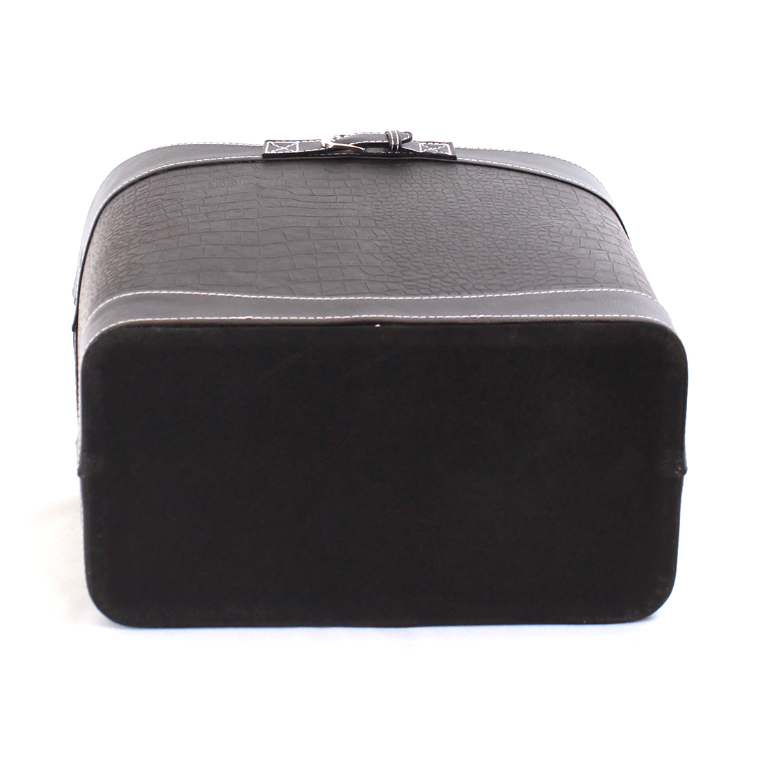 "Black Faux Leather Container 15"" x 9"" x 11"" bottom"