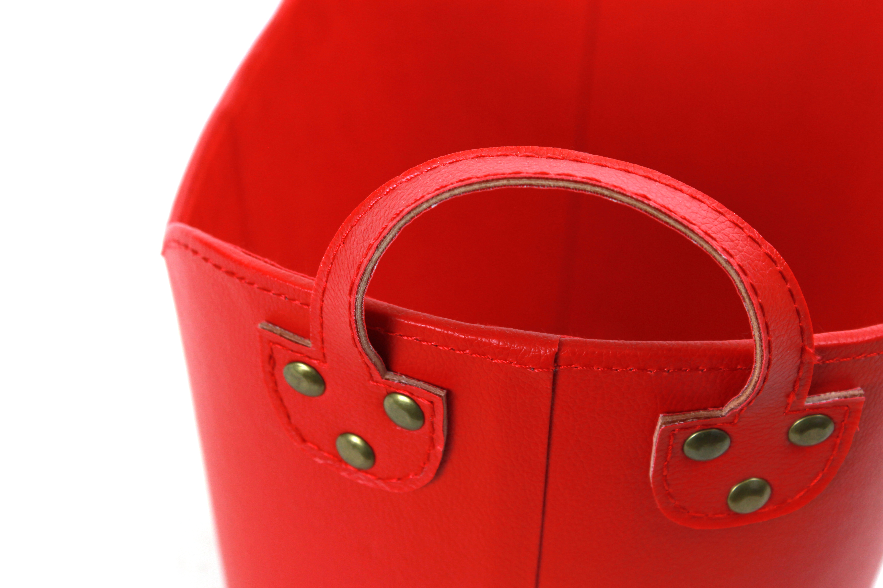 "Red Faux Leather Container 13"" x 8"" x 7.5"" close"