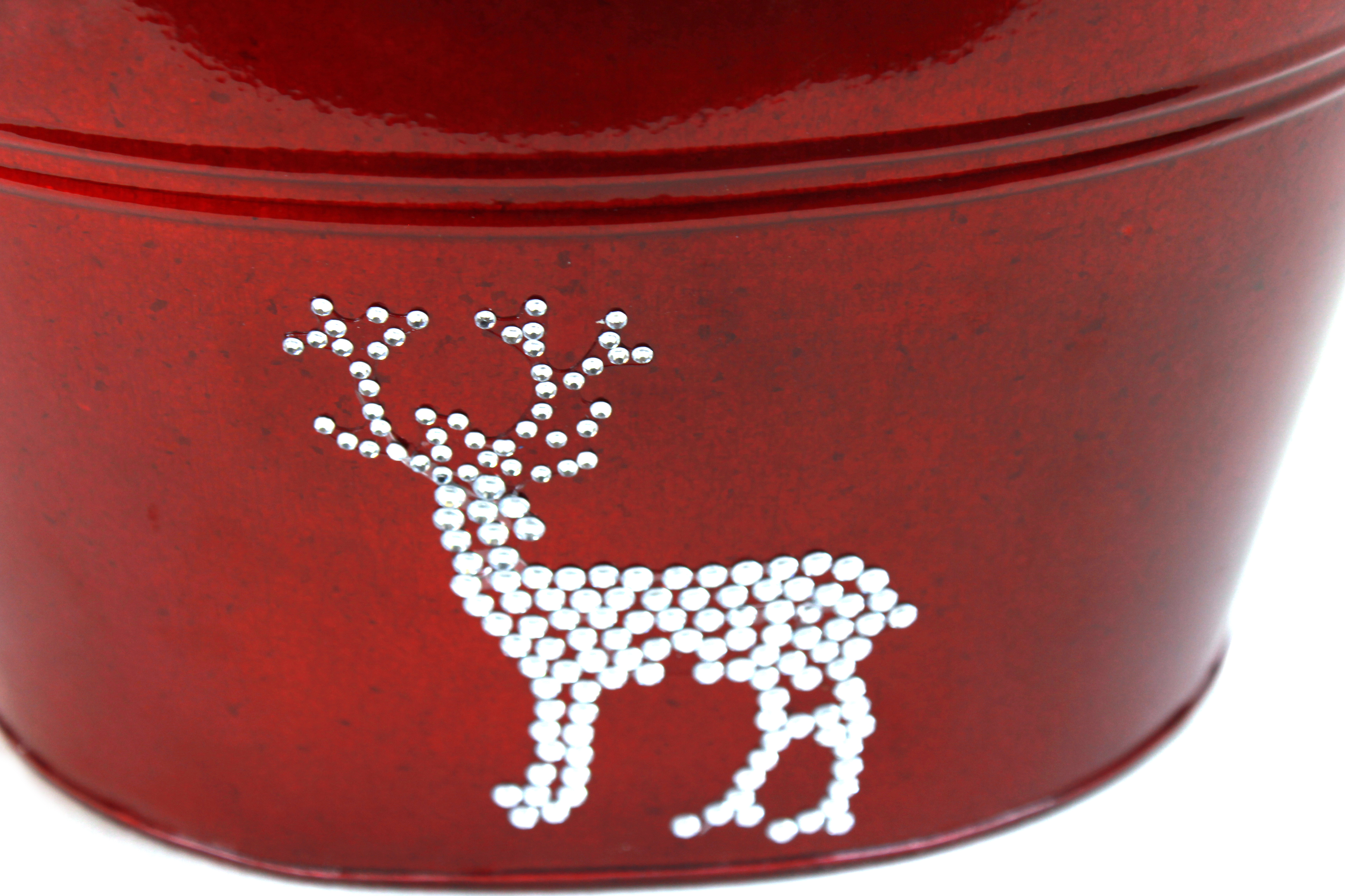 "Red Oval Metal Basket with Reindeer 10.5"" x 8.75"" x 6.5"" close"