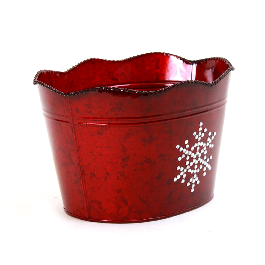 "Dark Red Oval Metal Basket with Snowflake 10.5"" x 8.75"" x 6.5"" side"