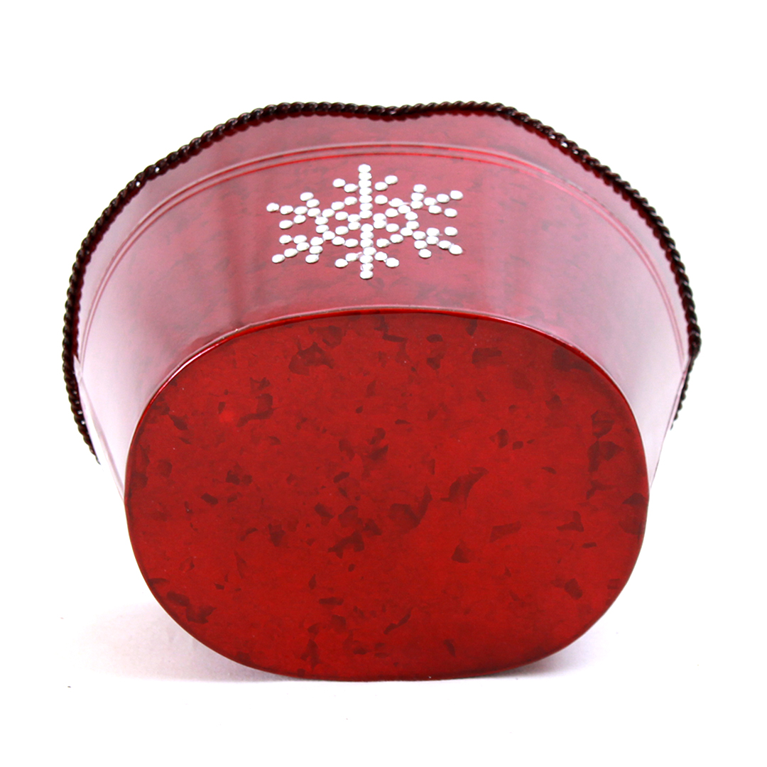 "Dark Red Oval Metal Basket with Snowflake 10.5"" x 8.75"" x 6.5"" bottom"