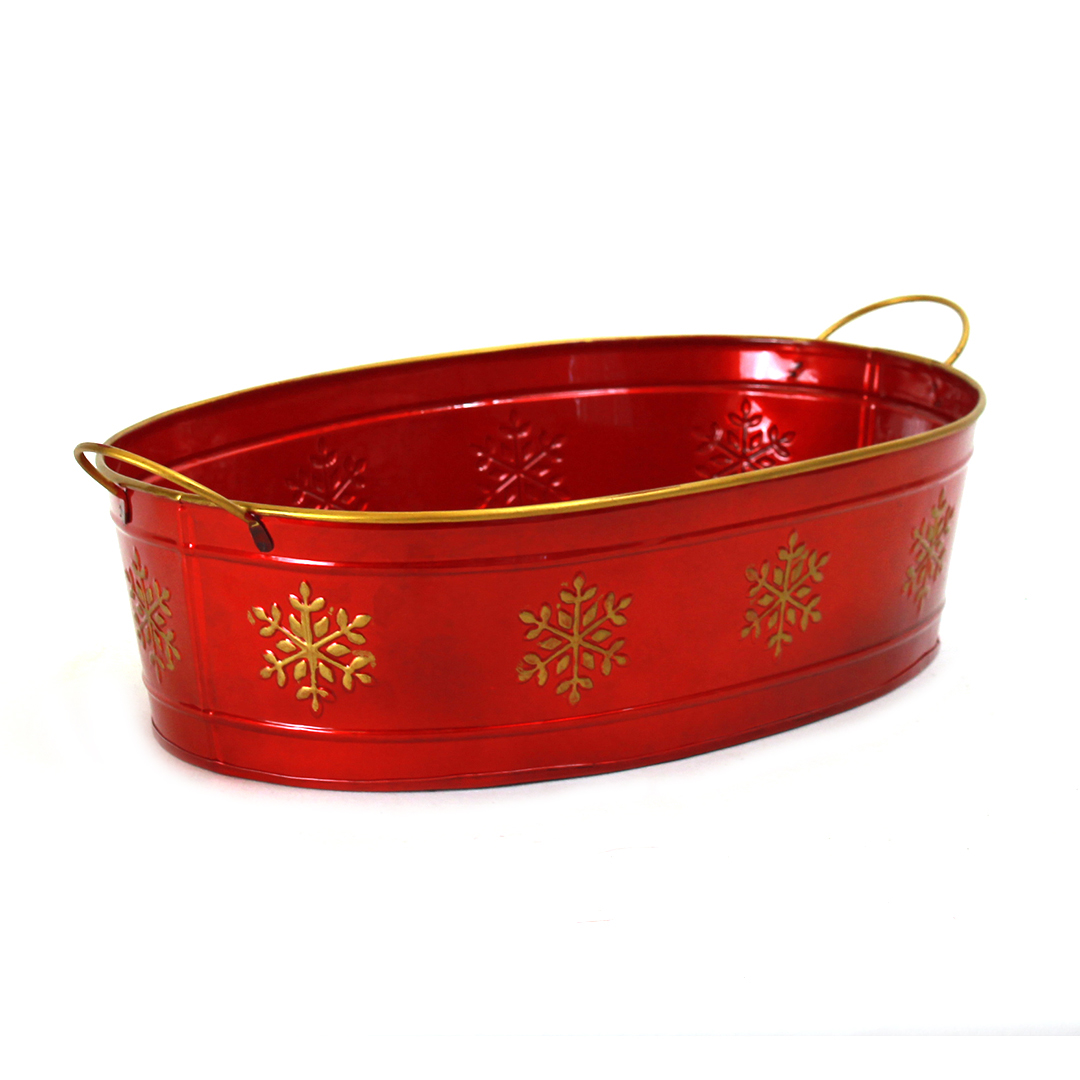 Red Oval Metal Planter With Snowflakes and Handles side