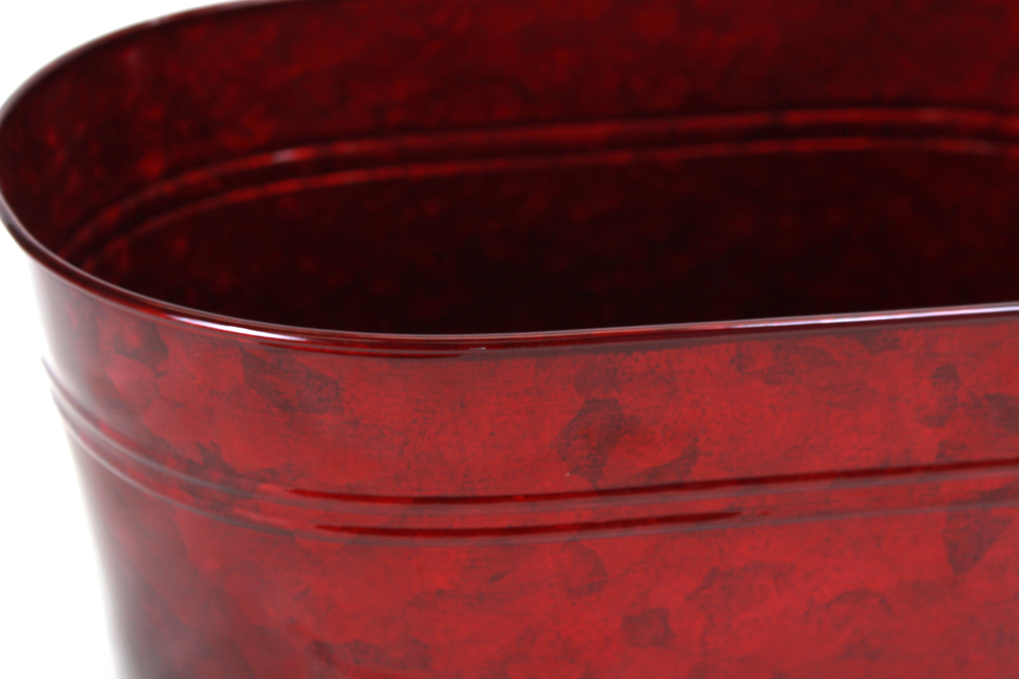 Red Oval Metal Basket close