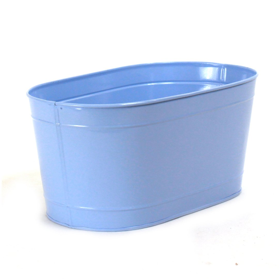 "Oval Light Blue Metal Planter 13½"" x 7½"" x 6"" side"