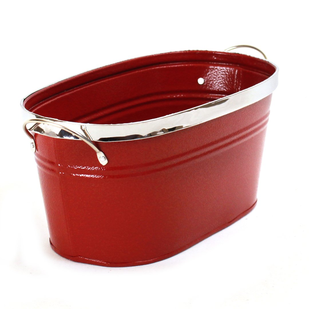 "Red Oval Metal Planter With Handles 10½"" x 5¾"" x 4¾"" side"