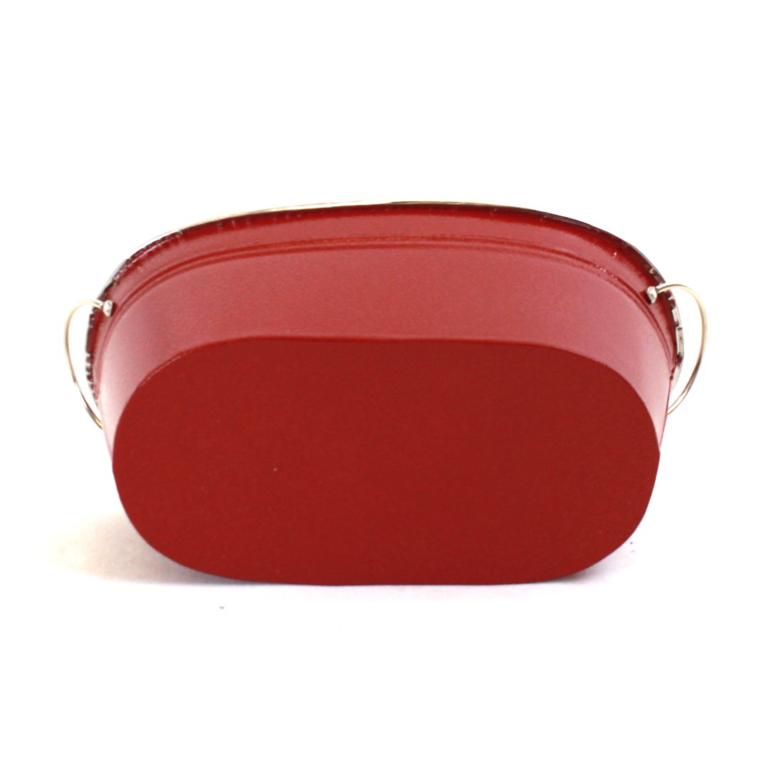 "Red Oval Metal Planter With Handles 10½"" x 5¾"" x 4¾""bottom"