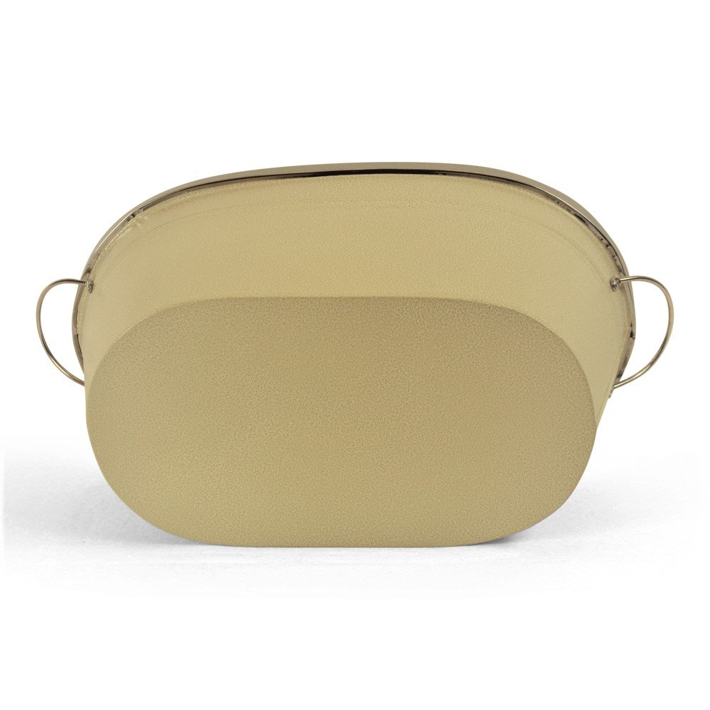 White Oval Metal Planter With Handles bottom