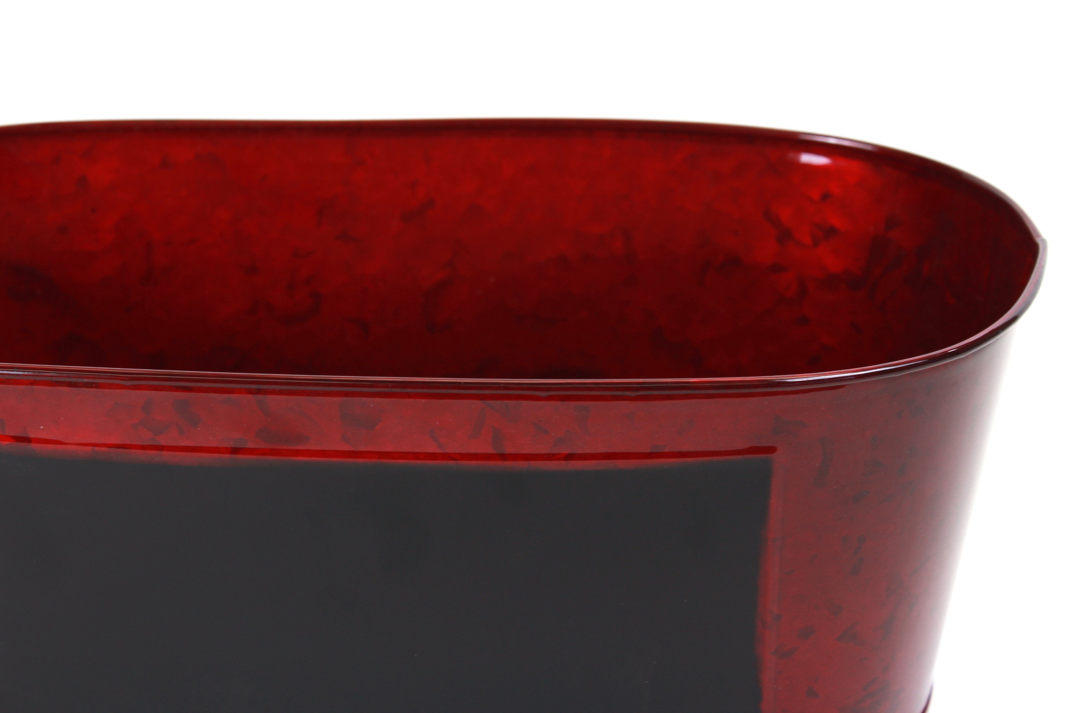 "Red Oval Metal Basket With Chalkboard Panel 15.5"" x 8"" x 6"" close"