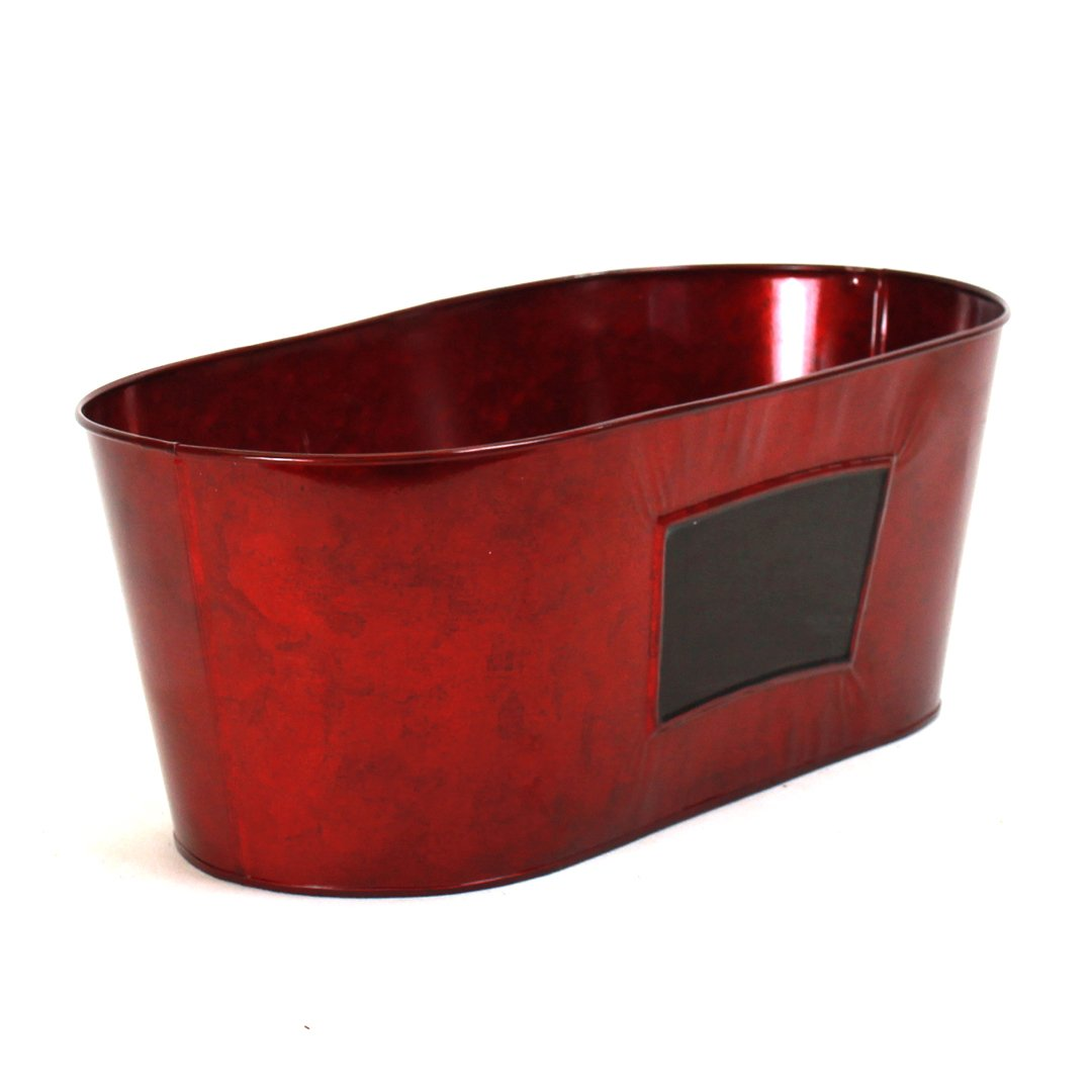 Red Oval Metal Basket With Chalkboard Panel side