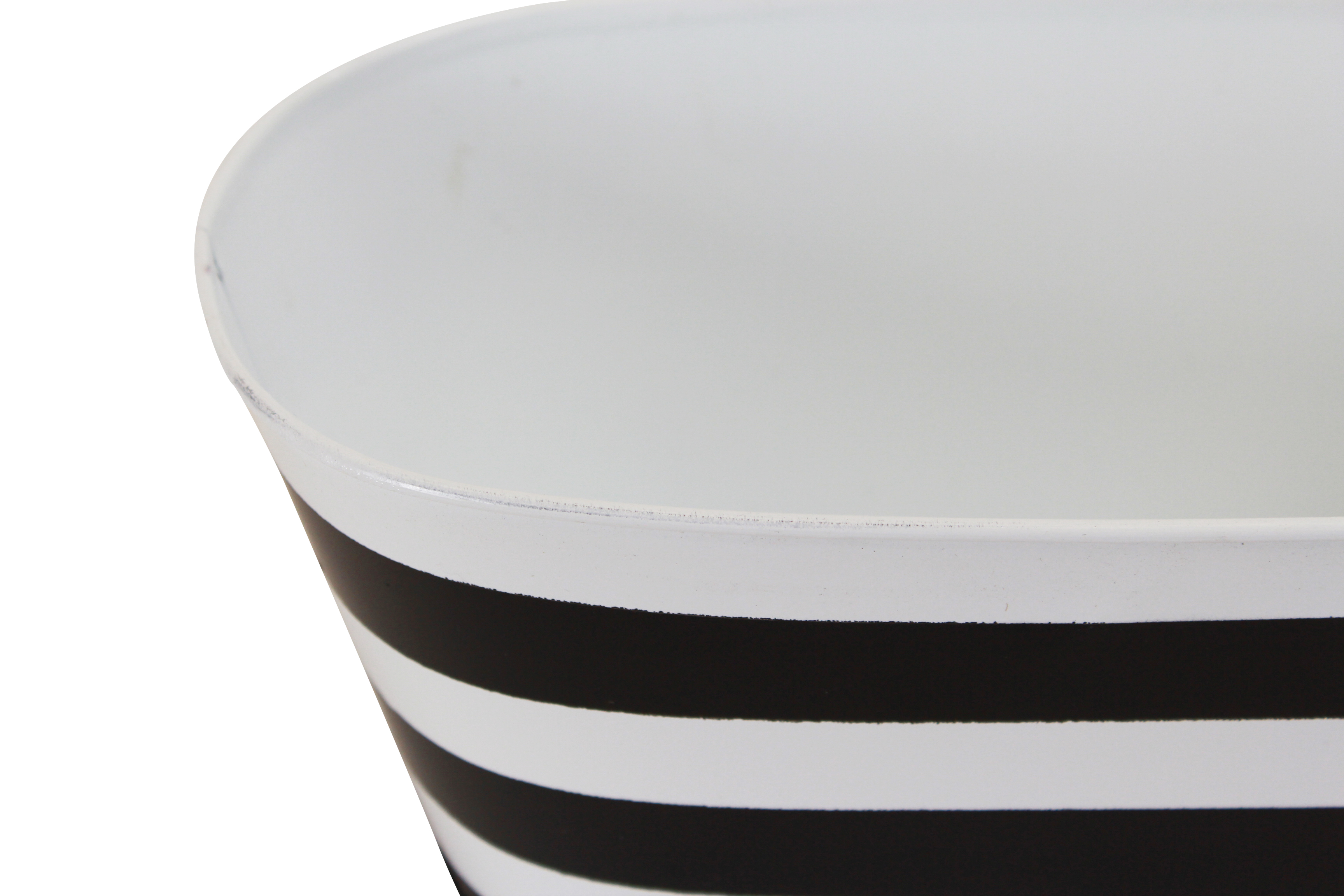 Striped Oval Metal Basket close
