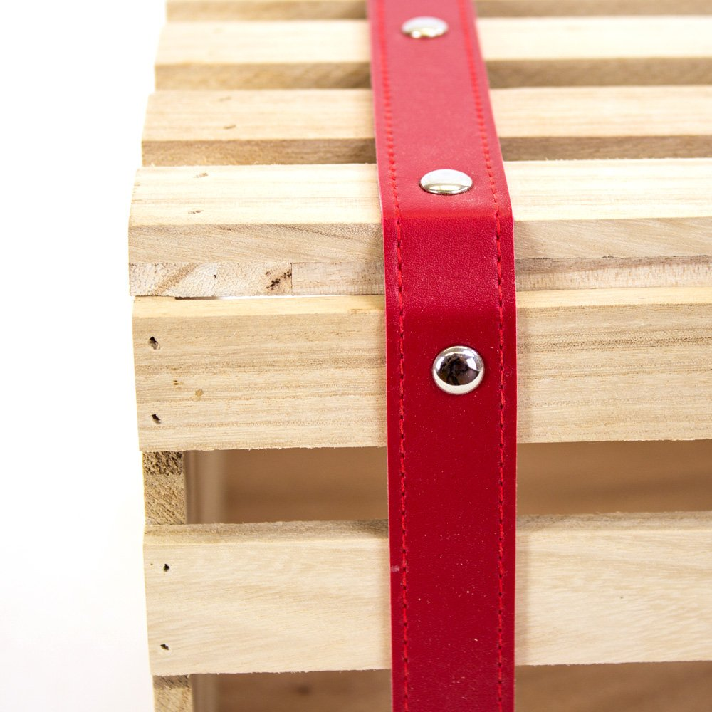 Wood Crates with Red Faux Leather Straps Close