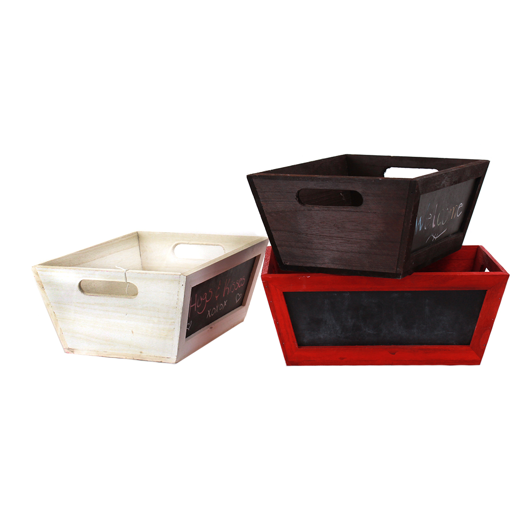 Rectangular Red Wood Basket with Chalkboard group
