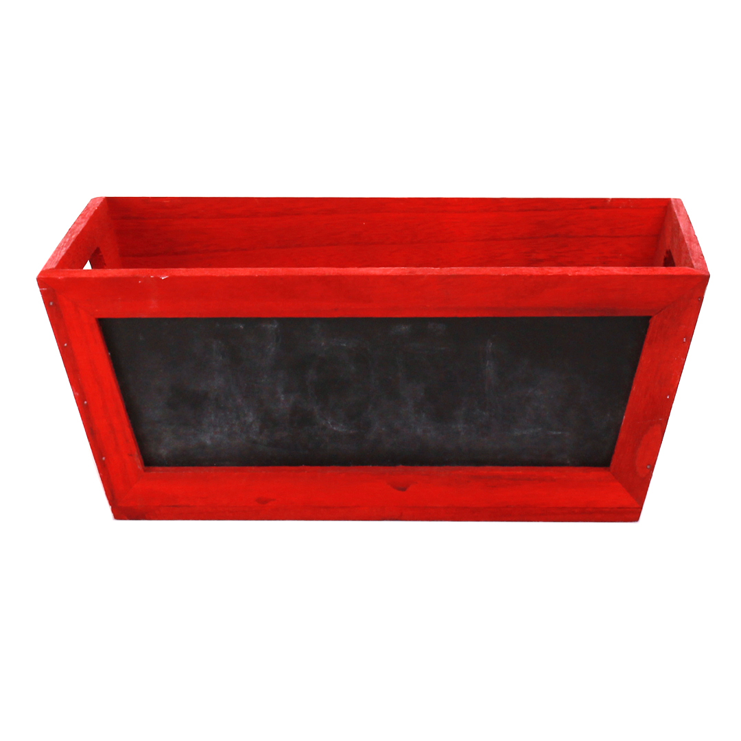 Rectangular Red Wood Basket with Chalkboard front